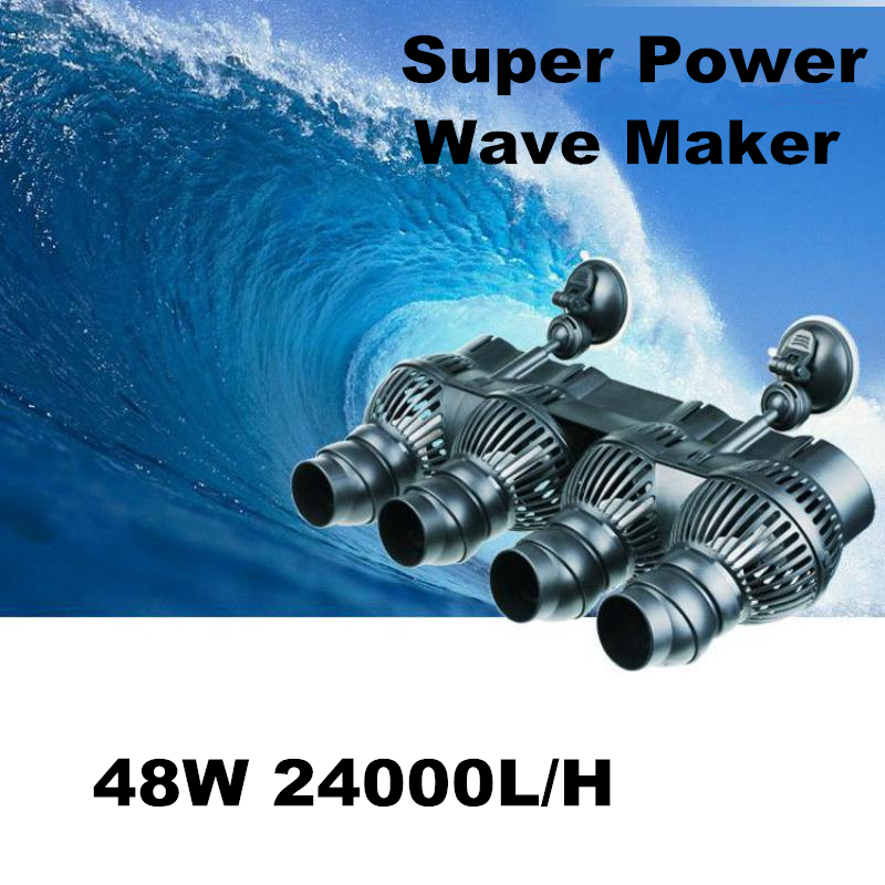 Super puissance 48 w 24000l/h Aquarium 4 puissance tête Wavemaker réservoir de poisson pompe à eau débitmètre pour récif de corail réservoir de poisson marin