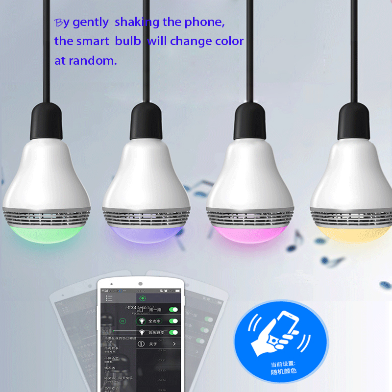 Intelligent Bulb Light LED 8W Bluetooth Speaker Music Playing RGBW E27 Lamp Dimmable Smart Cellphone Control GentelWay