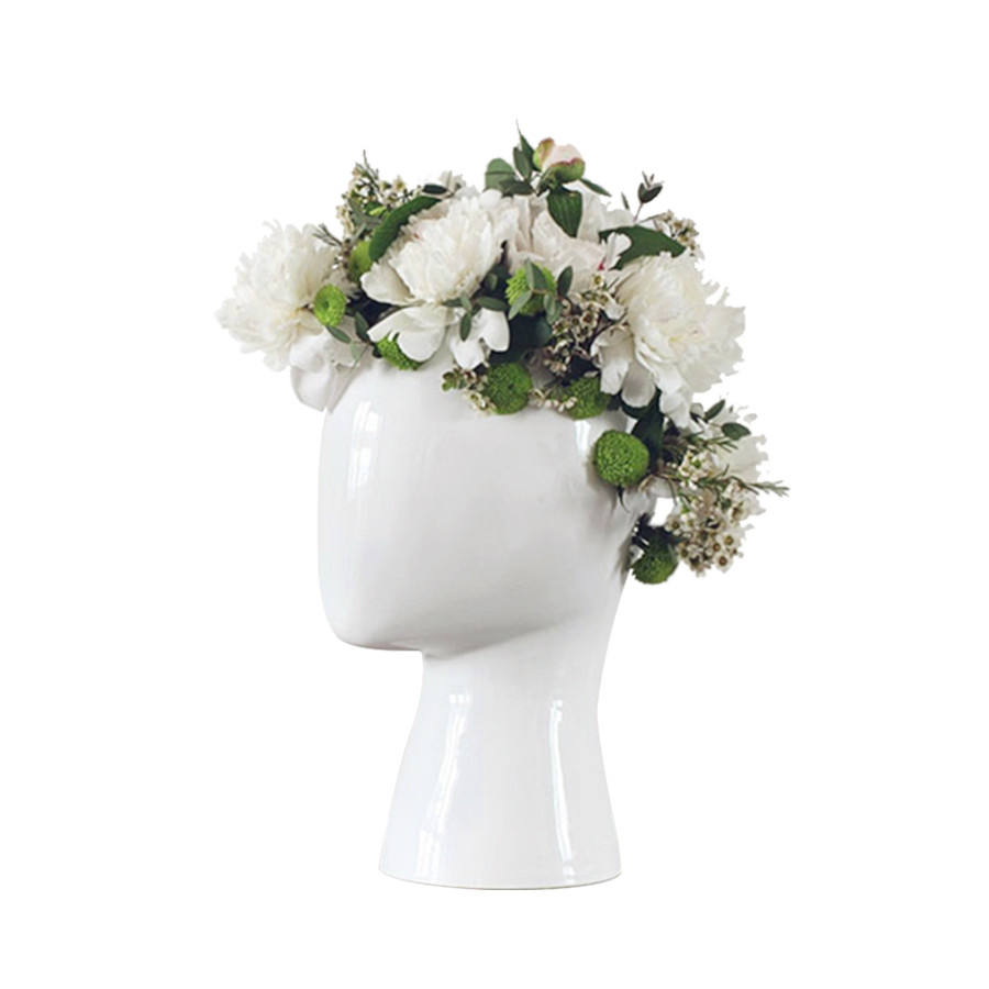 Aliexpress buy creative human head white black decorative aliexpress buy creative human head white black decorative bastract ceramic vase without flower home model room decoration ornaments from reliable mightylinksfo Image collections