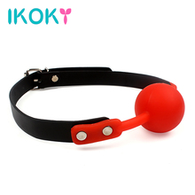 IKOKY Adult Games Open Mouth Gag Ball for Women Couple Leather Mouth Gag slave Oral Fixation Stuffed Flirting SM Sex Toys