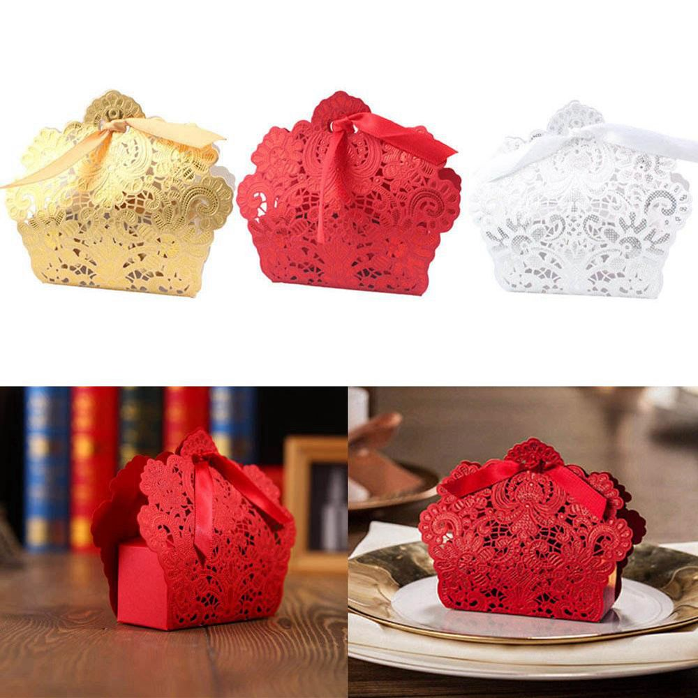 50 Pcs Ivory/Red/White/Gold/Blue Hollow Candy Favour Bags Boxes French Wedding Favors Gift Box Package Birthday Party Favor Bags