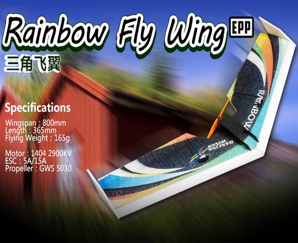 Free shipping RC Plane EPP Airplane Model DW HOBBY Rainbow Fly Wing 800mm Wingspan Tail push version RC Airplane Kit chaos полоска chaos ctr slap band