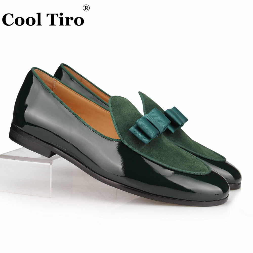 COOL TIRO Patent Leather and Suede Loafers Men Slippers Bowknot Wedding Dress Men's Flats Slip on office Gentlemen Casual Shoes