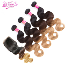 Queen Love Hair Pre-Colored Malaysia Body Wave 4 Bundles With 4×4 Lace Closure #1b/4/27 Ombre Non Remy Human Hair Extension