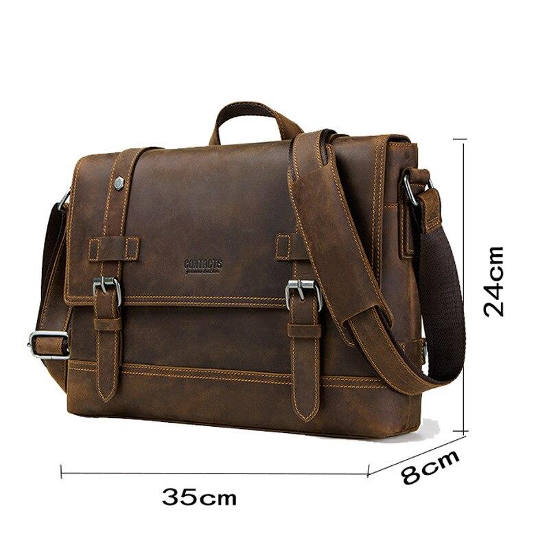 100% мужской портфель из натуральной кожи, Ретро стиль, настоящая сумасшедшая лошадь, кожаная сумка через плечо, деловая сумка для ноутбука, чехол, Офисная сумка - 5