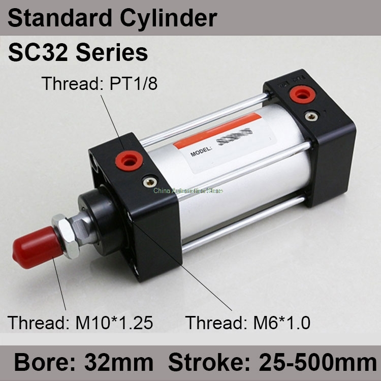 SC32*50 Free shipping Standard air cylinders valve 32mm bore 50mm stroke SC32-50 single rod double acting pneumatic cylinder free shipping 32mm bore 50mm stroke adjustable standard pneumatic air cylinder sc series al body pull rod cylinders sc32 50