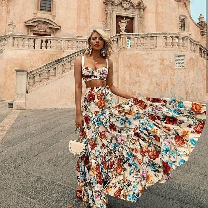 Boho Printed Crop Top+high Waist Long Skirts Chiffon Beach Sets Festival Women 2 Piece Summer Sets Matching Sets Beach Outfit