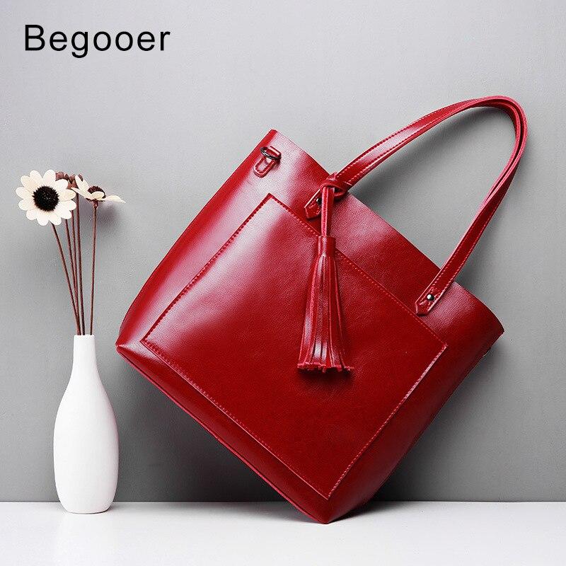 2018 nouveau femmes sac à main rouge gland en cuir véritable femme sac à main de luxe Designer Totes seau mode grande capacité sac à bandoulière