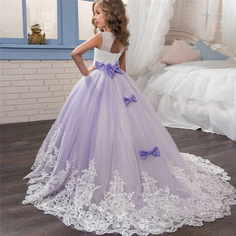 Teenager Princess Trailing Backless Bow Dresses Girls Pageant Long Gown Wedding Birthday Party Dress For Girls Children Clothing fashion flower girls purple dresses for teenager girl princess party and wedding pageant dress 2017 little girls long clothing