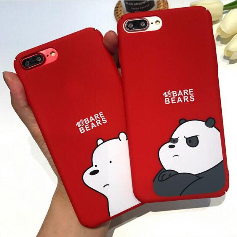 Galleria fotografica We Bare Bears Cute Cartoon Red Matte PC Hard Plastic Phone Case Cover Fundas Coque For iphone 6 S 7 7Plus 6S 6Plus 8 8Plus X