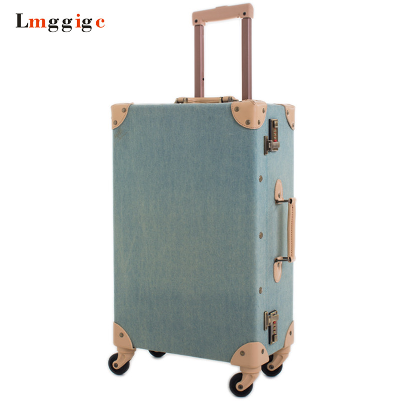 Denim Canvas Luggage Bag ,Oxford cloth Vintage Rolling Travel Suitcase, 20 inch Universal wheels Cabin Trolley Box with Lock