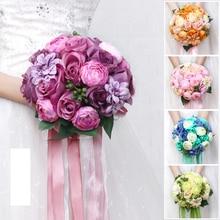 New Yellow Blue Pink Purple Green Wedding Bouquet Handmade Wedding Ball Bridal Bridesmaid Artificial Flower Bouquet for Wedding