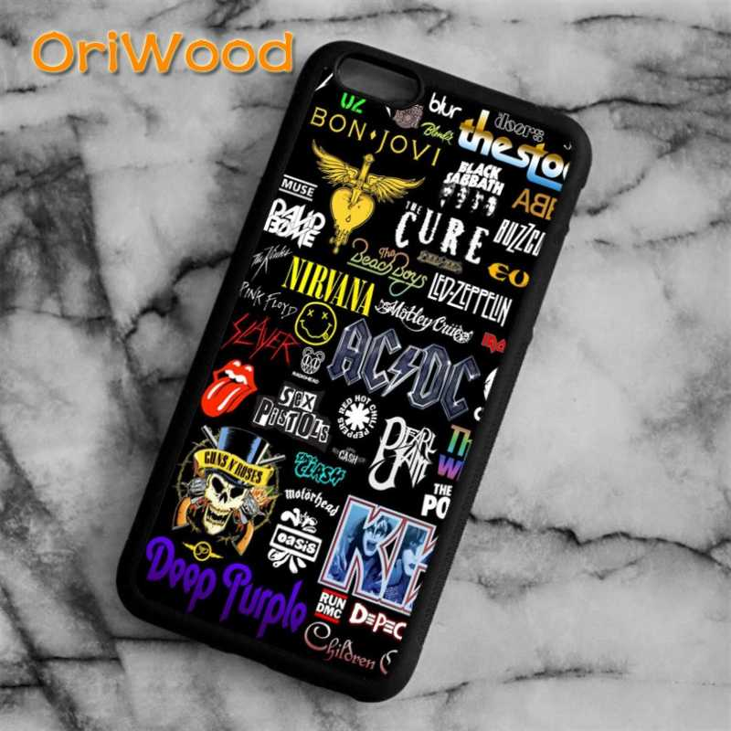 OriWood ACDC música logos arte da tampa do Caso Para o iphone 6 6 S 7 8 Plus X 5 5S SE Samsung galaxy S5 S6 S7 borda S8 Plus Nota 8 shell