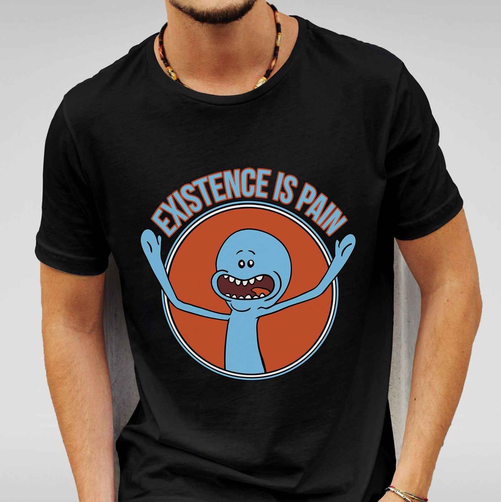 Ri en Morty Mr Meeseeks Bestaan is Pijn Bla Tshirt Mens Womens Unisex Gratis verzending Harajuku Tops t-shirt Fashion classic