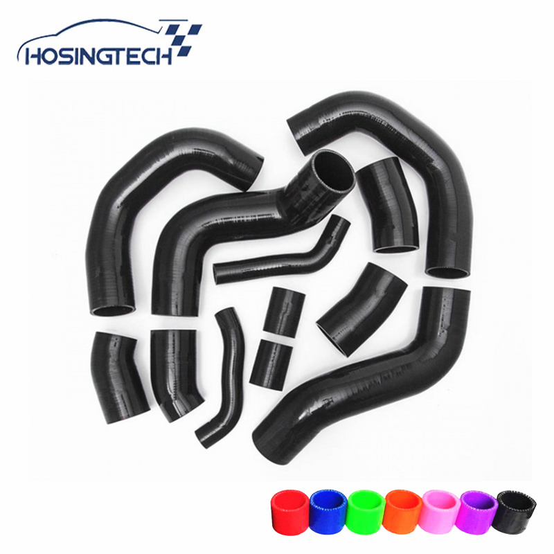 HOSINGTECH 12pcs color options intercooler turbo silicone turbo kit for Nissan Skyline GT R R35 09 17 BLACK