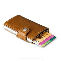 NEW Men Blocking Rfid Genuine Leather Wallet Business Aluminium Credit Card Holder Cow Leather Purse Automatic