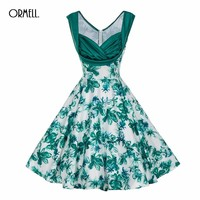 ORMELL Womens Summer Dress Vintage Elegant Green Floral Print Patchwork Tunic Work Office Party Fit and Flare A Line Dress