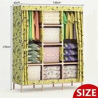 Размер (170X130X45 см) дерево простота сборки четверти Шкаф DIY Ткань Оксфорд раза портативный шкаф для хранения