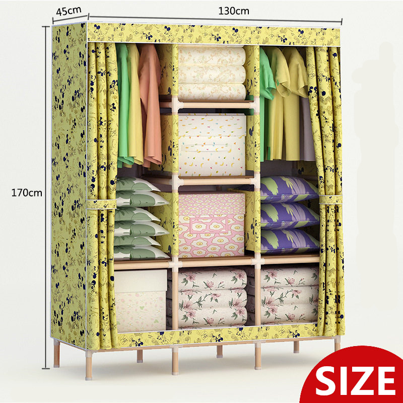 Size (170X130X45cm ) Wood Easy Assembly Quarter Wardrobe DIY Oxford Cloth Fold Portable Storage CabinetSize (170X130X45cm ) Wood Easy Assembly Quarter Wardrobe DIY Oxford Cloth Fold Portable Storage Cabinet