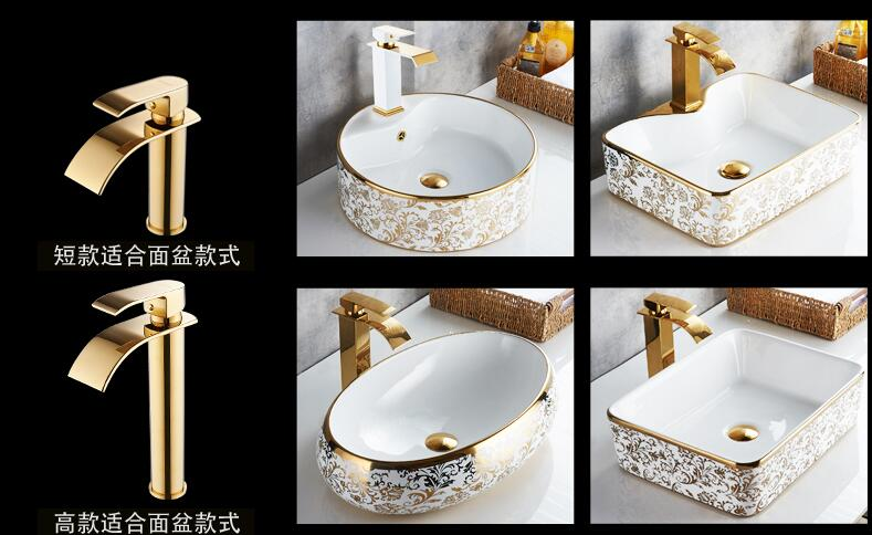 HTB1rjSebH1YBuNjSszeq6yblFXaA Basin Faucet Gold and white Waterfall Faucet Brass Bathroom Faucet Bathroom Basin Faucet Mixer Tap Hot and Cold Sink faucet