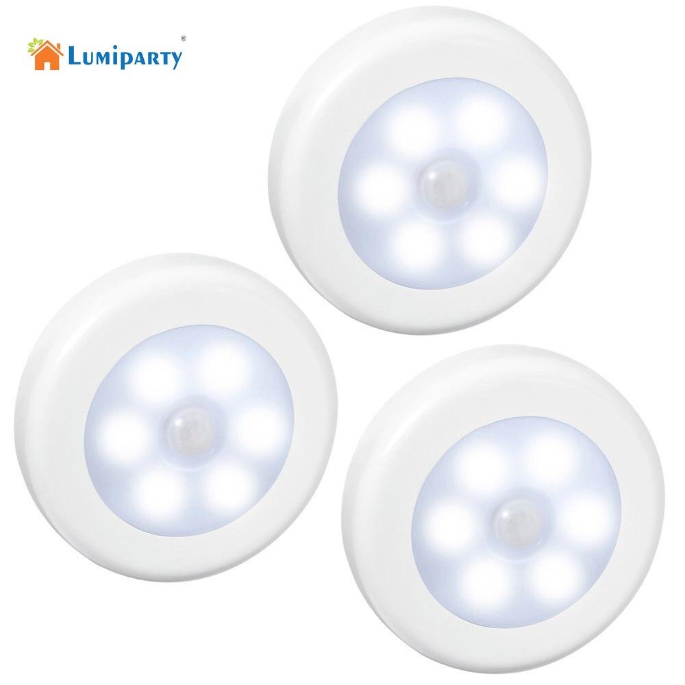 Lumiparty 3 шт. движения led Сенсор ночью сухим Батарея Powered свет в ночь движения лампы с белым светом для аварийного
