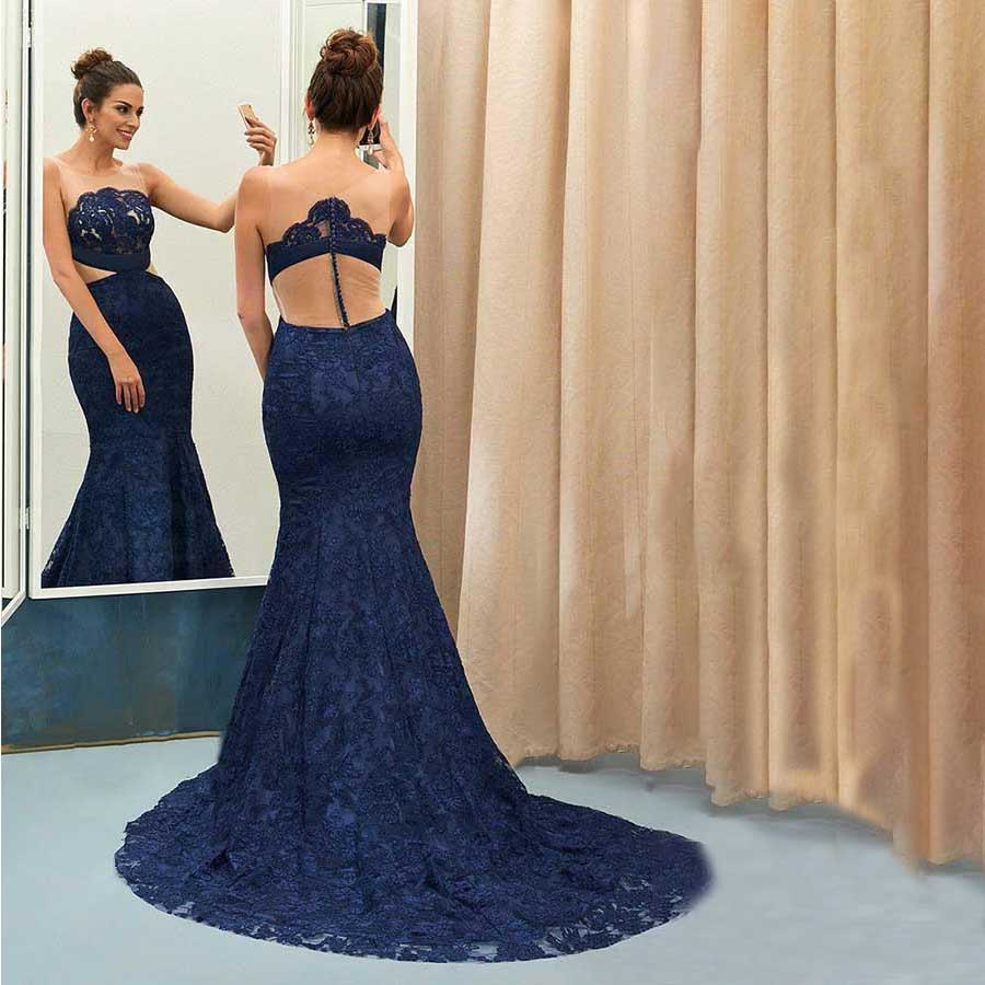 Scoop Long   Prom     Dresses   Sleeveless Mermaid Illusion Lace Sweep Train Evening Formal Party   Dress   with Button Vestido De Fiesta