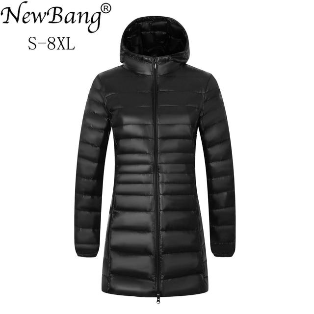 NewBang бренд плюс 8XL 7XL женские пальто длинный Зимний пуховик ультра легкий пуховик женская теплая куртка с капюшоном верхняя одежда