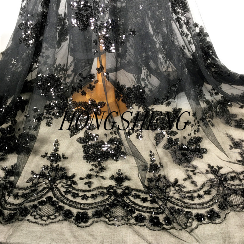 2MX130cm Shining Flower Mesh Embroidery Lace Black Sequins Fabric Cheongsam Performance Sequins Fabric Tulle Embroidery Fabric