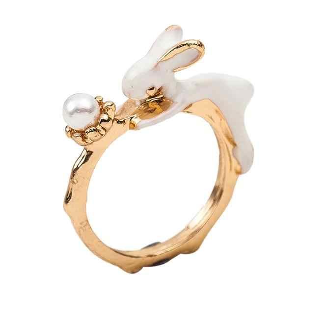 Elegante barra quente adorável coelho anel pulseira conjuntos de jóias bonito coelho padrão moda feminina luxo casual pulseira anel conjunto #1
