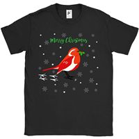 Red Crested Robin In Snow Holding Holly Berries Mens T Shirt Fashion T Shirts Summer Straight