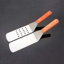 Деревянная ручка из нержавеющей стали заклепанная Ресторан барбекю лопатка для гриля Тернер инструмент#0622