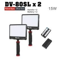 FalconEyes 2 XLot 15 w Portátil Super Slim LED LUZ de Vídeo de Preenchimento 80 pcs LEDs com Suporte e Bateria Portátil caso vazio DV-80SL Kit