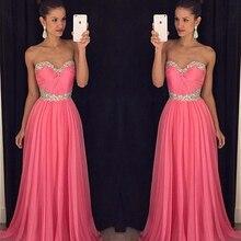 Lovey Rosa Liebsten Strass Lange Prom Kleider Sexy Backless Perlen A-linie Abendkleider Günstige Chiffon Abendkleid Zum Verkauf