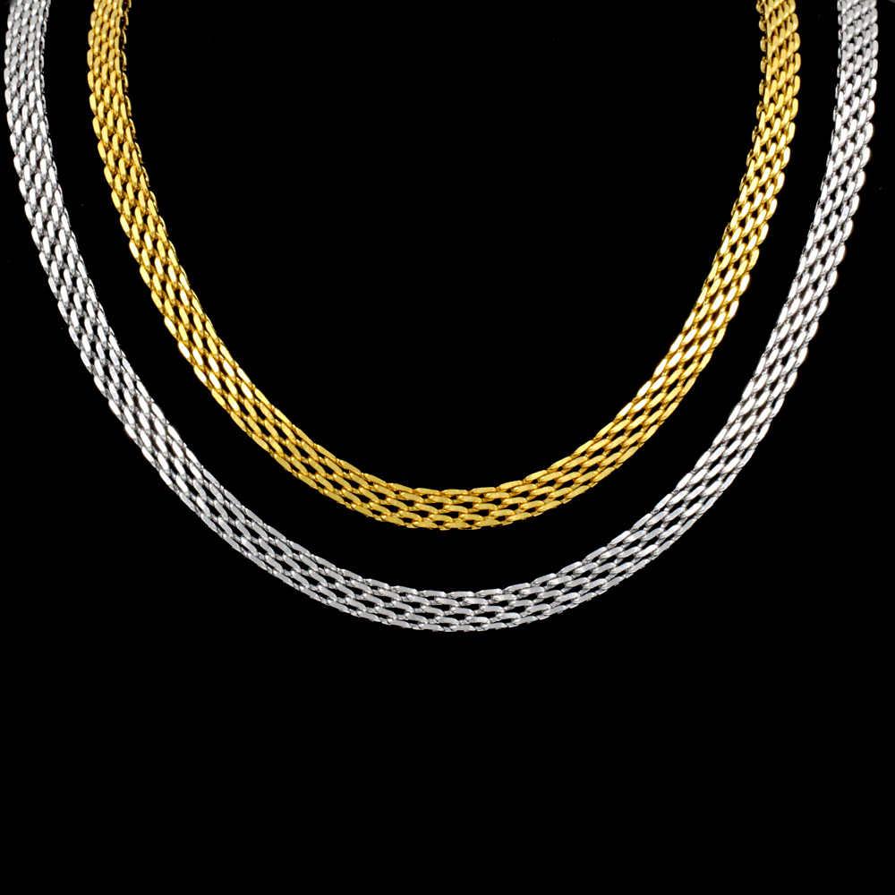 LUXUKISSKIDS 6mm 55cm inny styl moda naszyjnik łańcuch mężczyźni kobiety biżuteria złoty/srebrny ze stali nierdzewnej dla wisiorek sprzedaż hurtowa