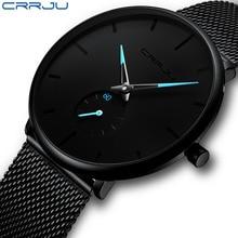 Mens Watches CRRJU Brand Ultra Thin Watch