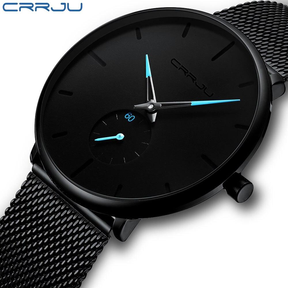 Mens Watches CRRJU Brand Ultra Thin Watch For Men Fashion Quartz Male Wristwatch Stainless Steel Mesh Waterproof Clock Relojes