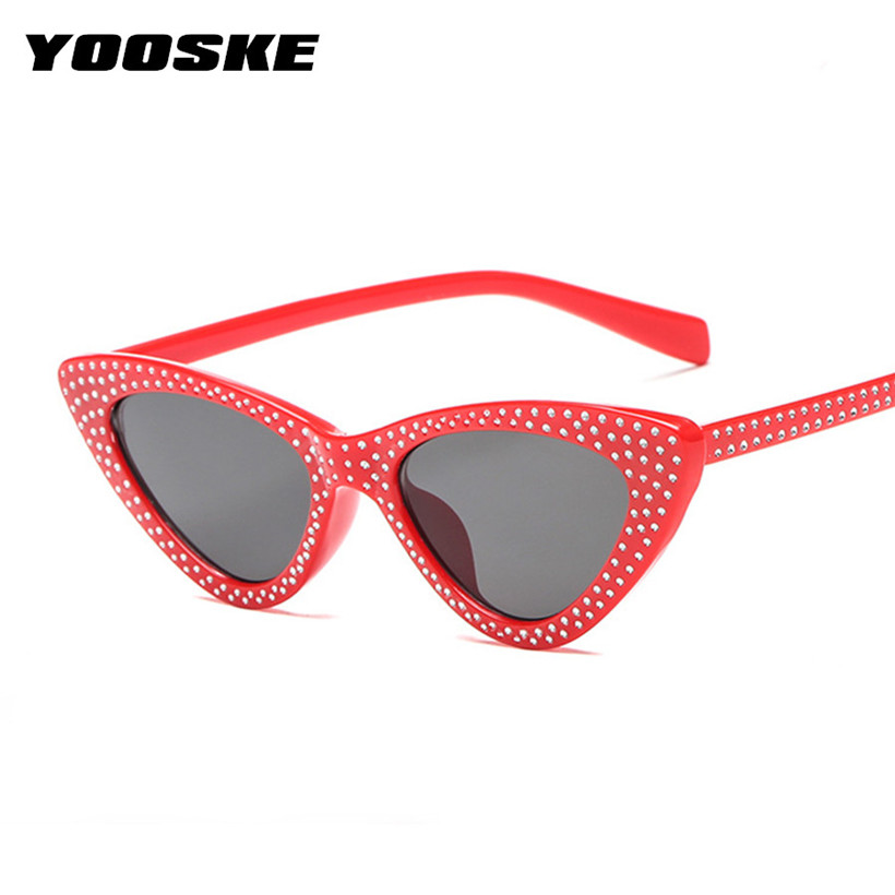 YOOSKE Retro Small Cat Eye Sunglasses Women Luxury Brand Designer Rhinestone Sun Glasses Female Sexy Triangle