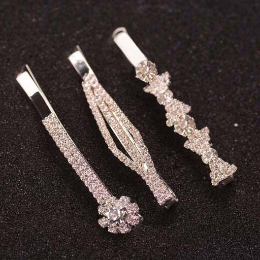 Hairclip-Set Hair-Accessories Clear-Stone Crystal Fancy 3pcs/Set 6cm Ladies