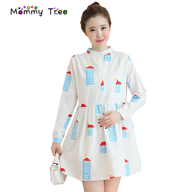 Color Cartoon Floral Print Pregnancy Shirt Dresses Spring Maternity Clothes For Pregnant Women Long Sleeve