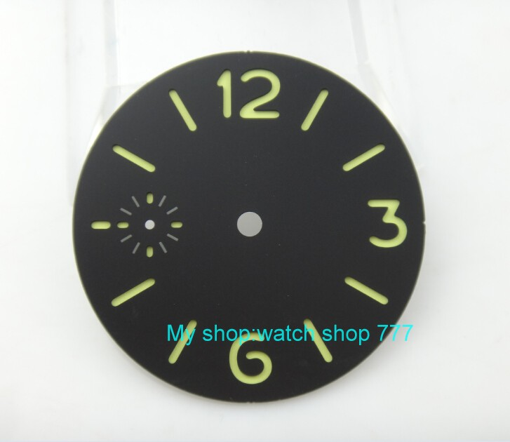 36.3mm Black Dial Fit For 6497-1 /6497-2/st3600 Movement Watch Green Luminous Green Marks 01a