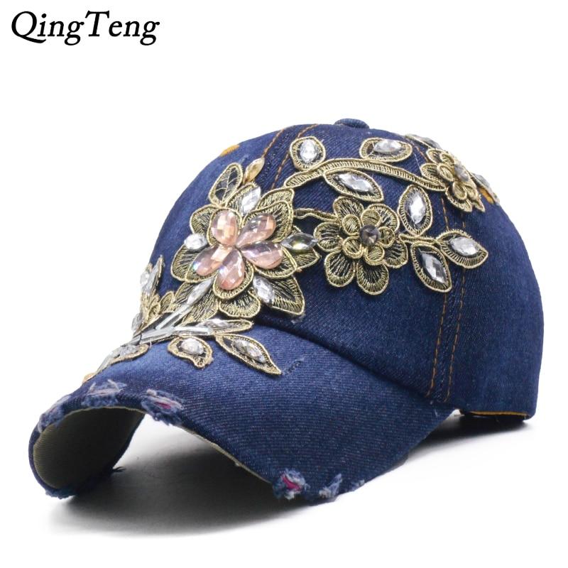 Denim Rhinestone Womens Baseball Cap Vintage Luxury Flower Pattern Gorras Female High Quality Glass Diamond Hat