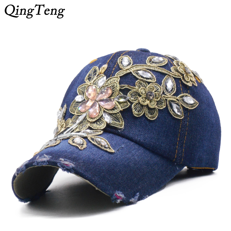 Denim Rhinestone Women's   Baseball     Cap   Vintage Luxury Flower Pattern Gorras Female High Quality Glass Diamond Hat