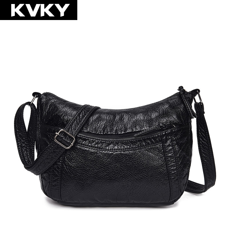 KVKY Soft PU Leather Bag Women Shoulder Bags Hobos Black Female Handbags Zipper Ladies Crossbody Bags Casual Tote Messenger Bags classic black leather tote handbags embossed pu leather women bags shoulder handbags elegant
