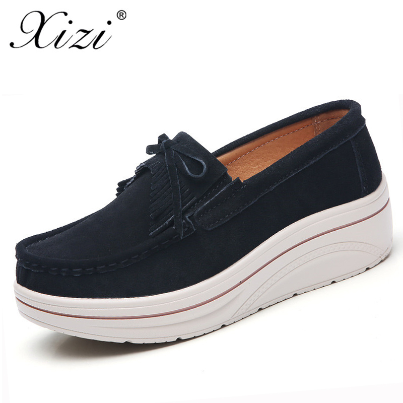 Xizi Autumn Women Casual Flats Women Tassel Platform Shoes Ladies   Leather     Suede   Casual Shoes Slip on Flats Creepers Footwear