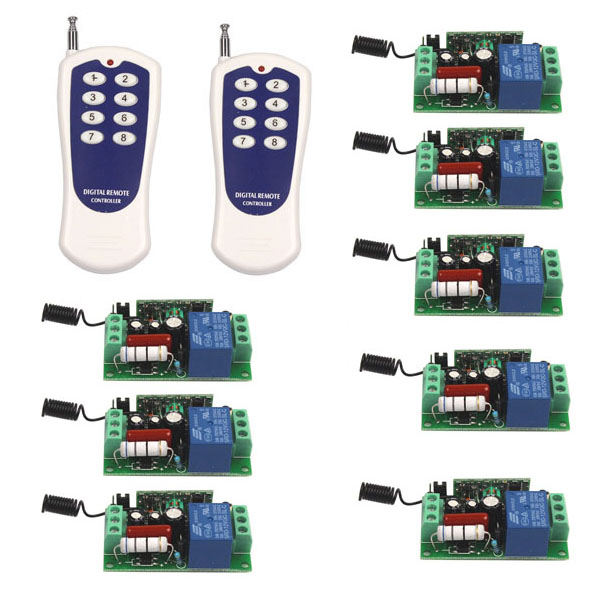 ФОТО US AC 110V 10A 1CH Relay ON/OFF Wireless RF 8-key Remote Control Switch Transmitter+8 Receiver