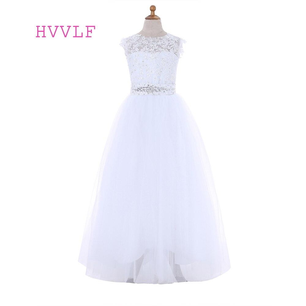 White 2019   Flower     Girl     Dresses   For Weddings A-line Cap Sleeves Bow Lace Beaded First Communion   Dresses   For Little   Girls