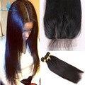 7А Прямо Бразильского Виргинские Волос Шелковый База Закрытие С Пучками Необработанные, Прямые Волосы С Закрытия Скрытых Узлов