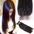7A Straight Brazilian Virgin Hair Silk Base Closure With Bundles Unprocessed Straight Hair With Closure Hidden Knots