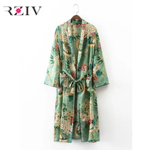 RZIV 2017 Floral print girls's shirts summer time informal vogue print belt ornamental lengthy kimono shirt cardigan elegant shirt