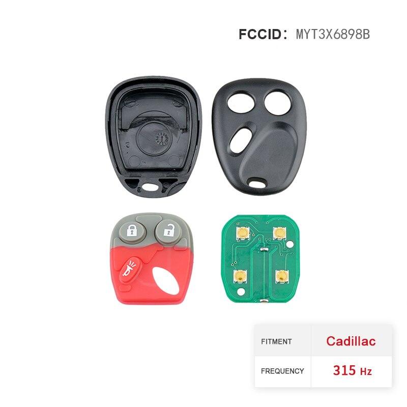 Dzanken 3 Buttons Remote Car Key 315MHz for GMC Envoy Trailblazer MYT3X6898B& Transponder Chip & Uncut Blade